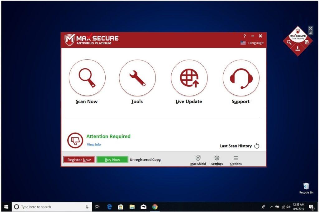 Max Secure Anti Virus Main Window