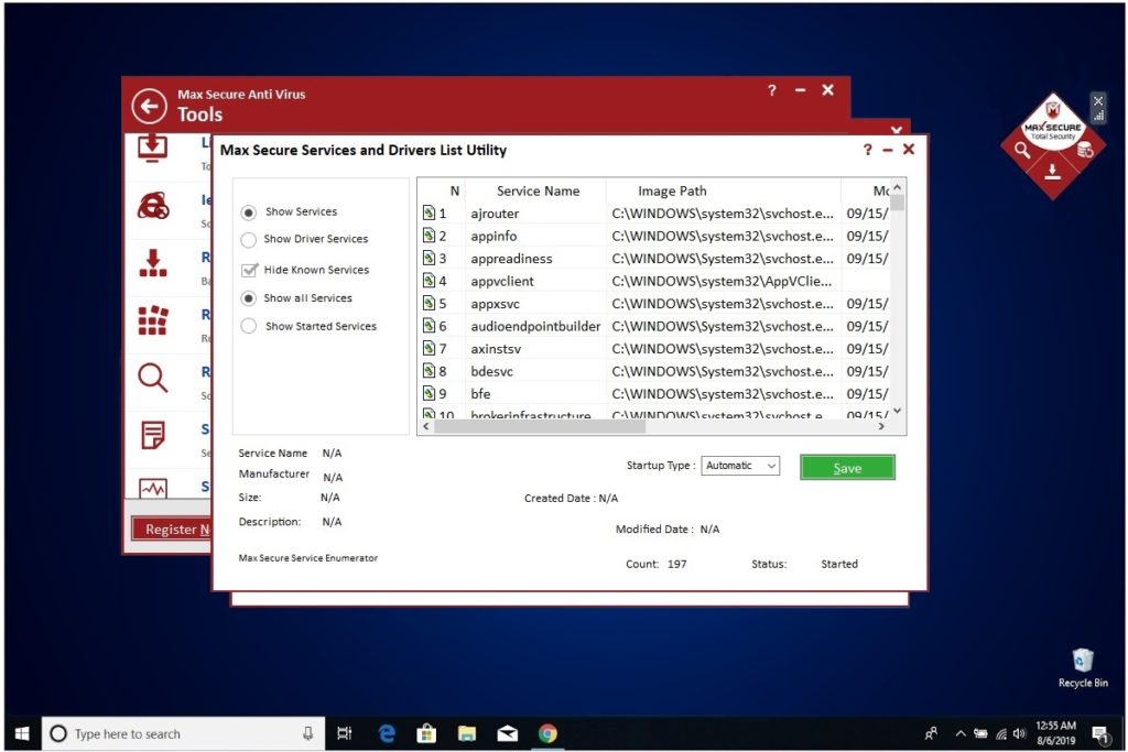 Max Secure Anti Virus Services Drivers List
