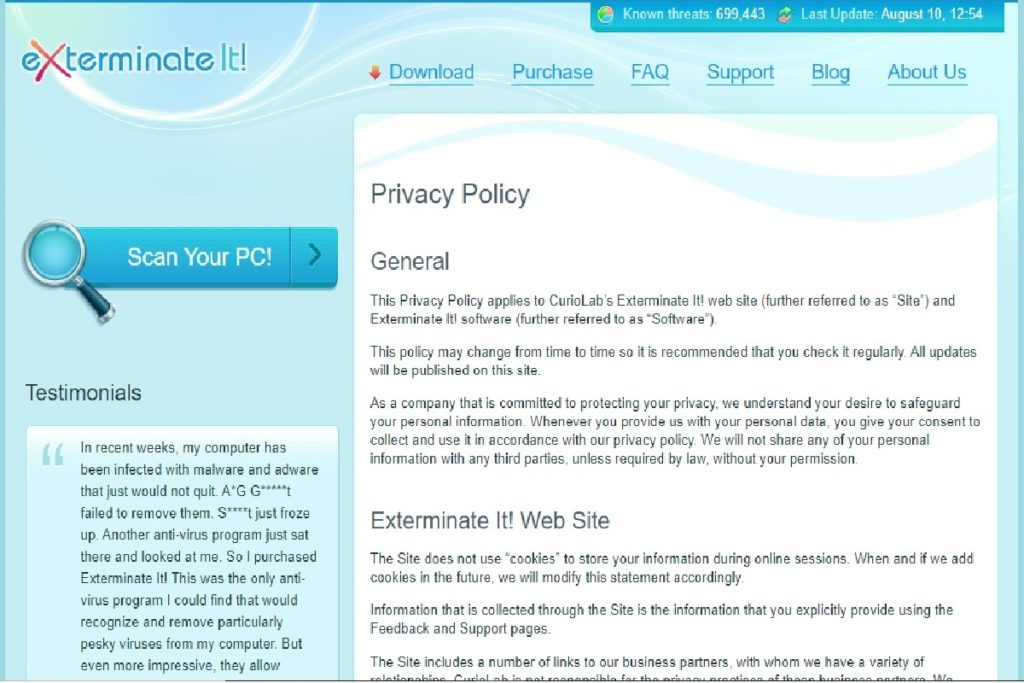 Exterminate It! Review Privacy Policy