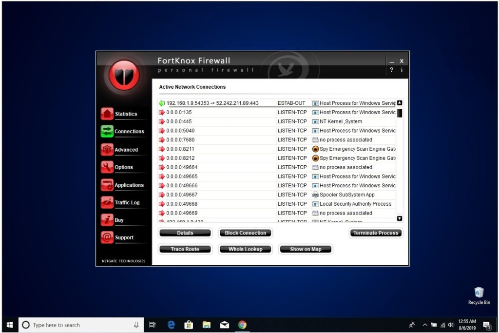 NETGATE Internet Security Review FortKnox Firewall Active Network Conn