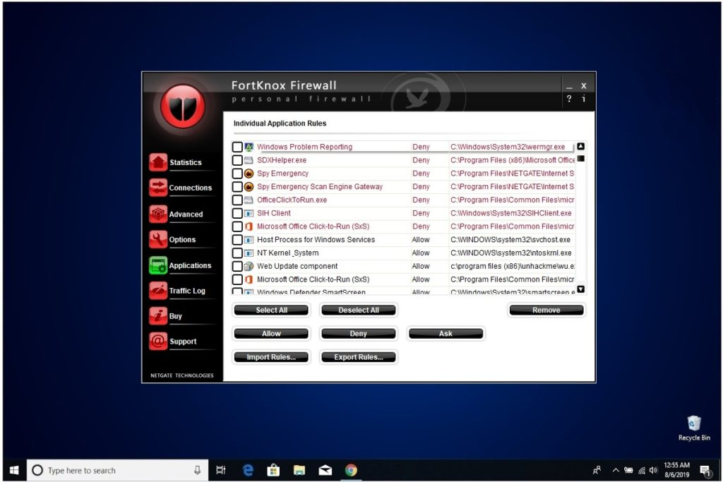 NETGATE Internet Security Review FortKnox Firewall Applications