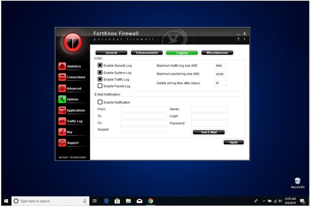 NETGATE Internet Security Review FortKnox Firewall Options Logging