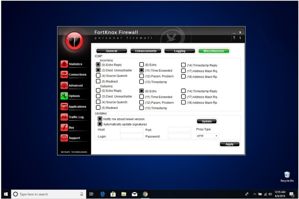 NETGATE Internet Security Review FortKnox Firewall Options Misc