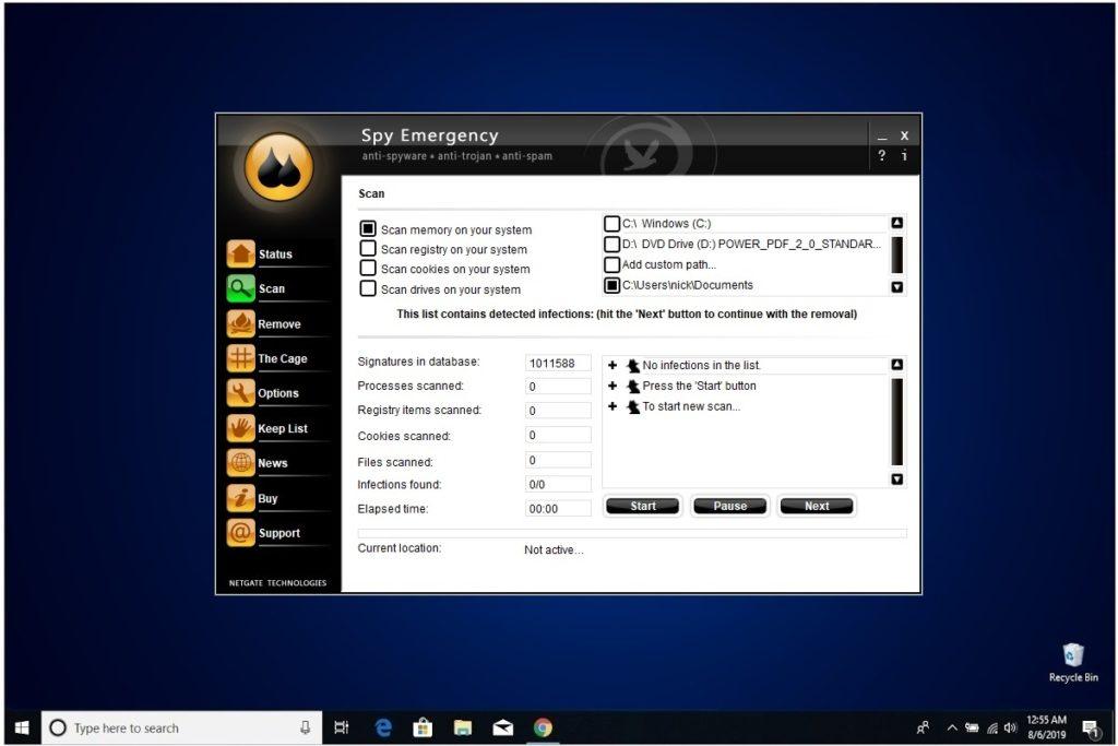 NETGATE Internet Security Review Spy Emergency Custom Scan