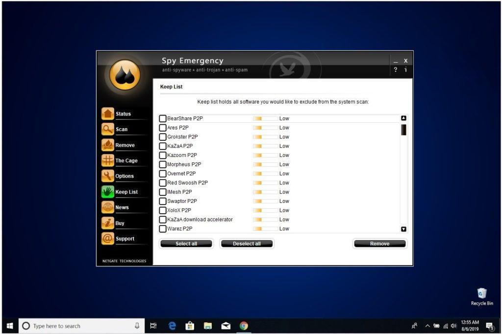 NETGATE Internet Security Review Spy Emergency Keep List