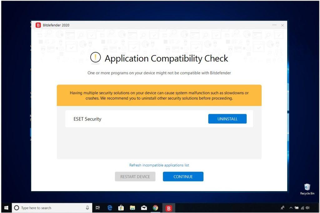 Bitdefender Antivirus Plus Installation Application Compatibility Check
