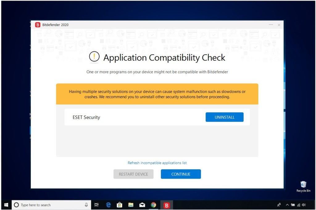 Bitdefender Antivirus Plus Installation Application Compatibility Check