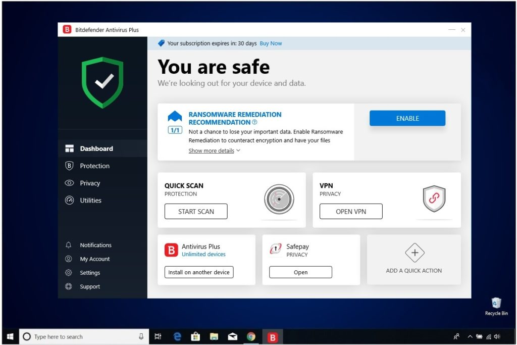 Bitdefender Antivirus Plus Installation Main Window