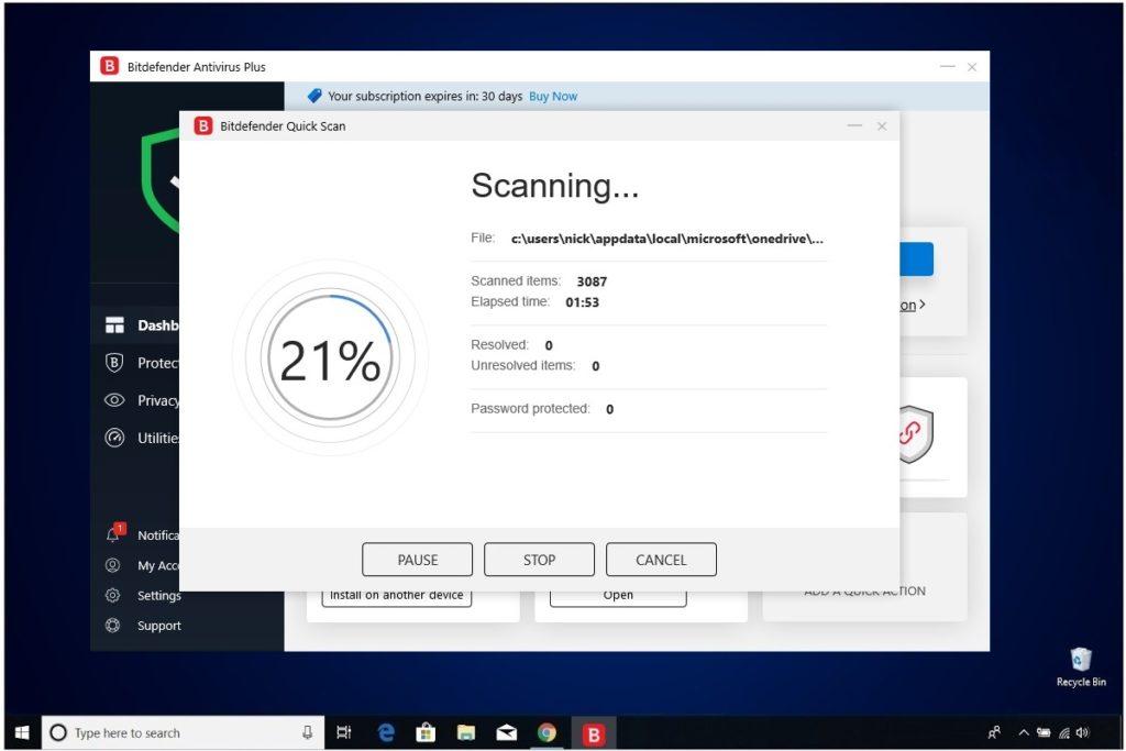 Bitdefender Antivirus Plus Review Scanning