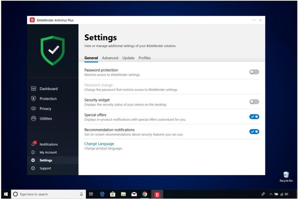 Bitdefender Antivirus Plus Review Settings