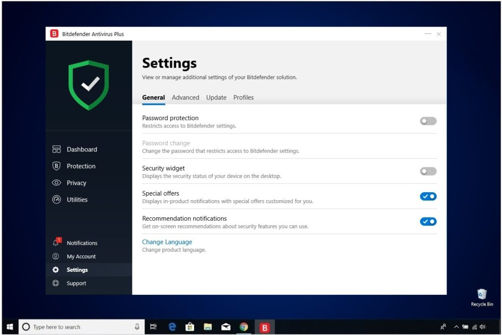 Bitdefender Antivirus Plus Review Settings