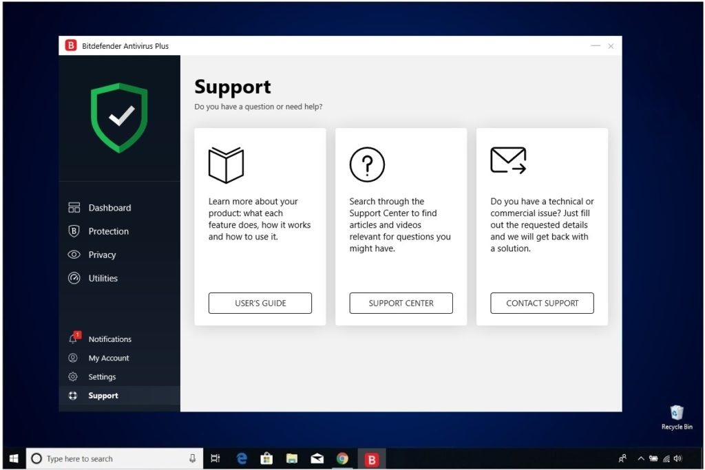 Bitdefender Antivirus Plus Review Support