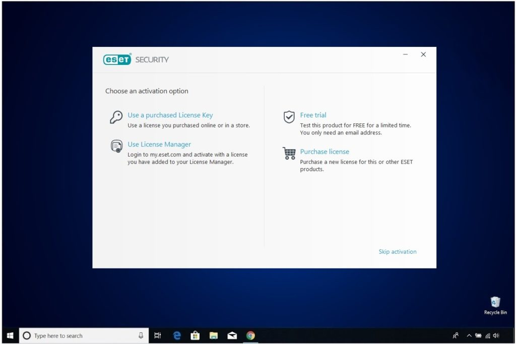 ESET NOD 32 Windows Antivirus Installation Application Option