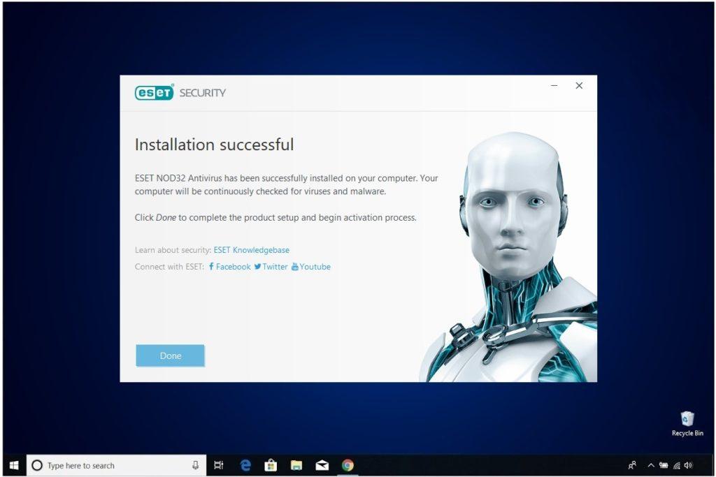 ESET NOD 32 Windows Antivirus Installation Install Complete