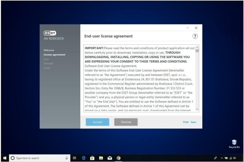 ESET NOD 32 Windows Antivirus Installation License Agreement AV Removal Tool