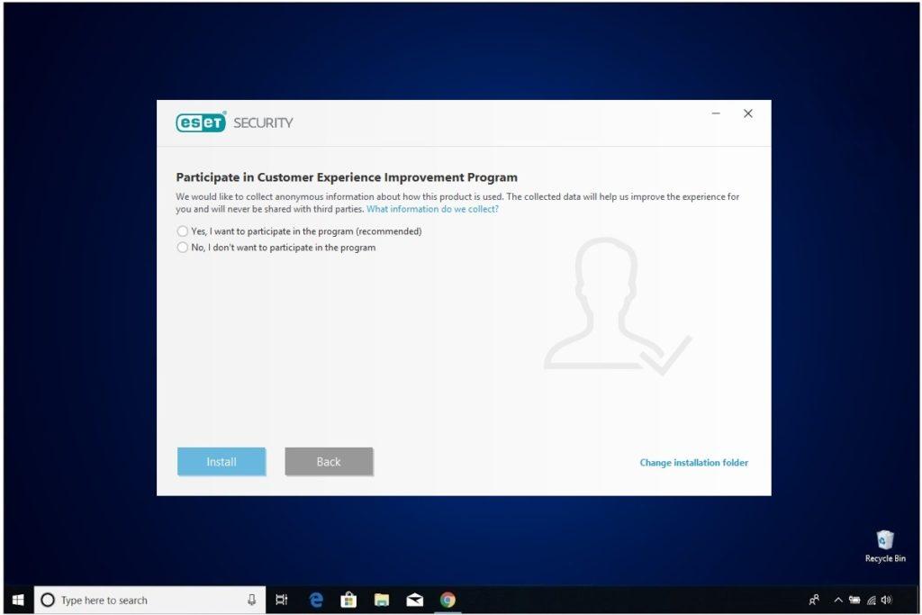 ESET NOD 32 Windows Antivirus Installation Participate In Customer Experience Improvement Program