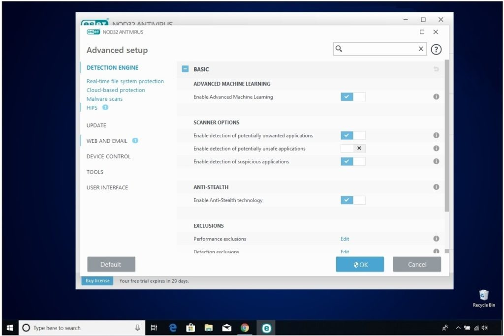 ESET NOD32 Antivirus Review Advanced Setup