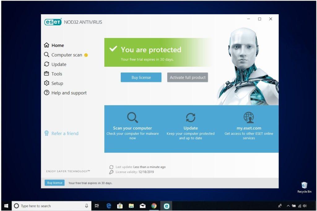 ESET NOD32 Antivirus Review Home Screen