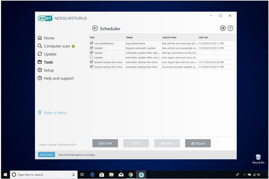 ESET NOD32 Antivirus Review Scheduler