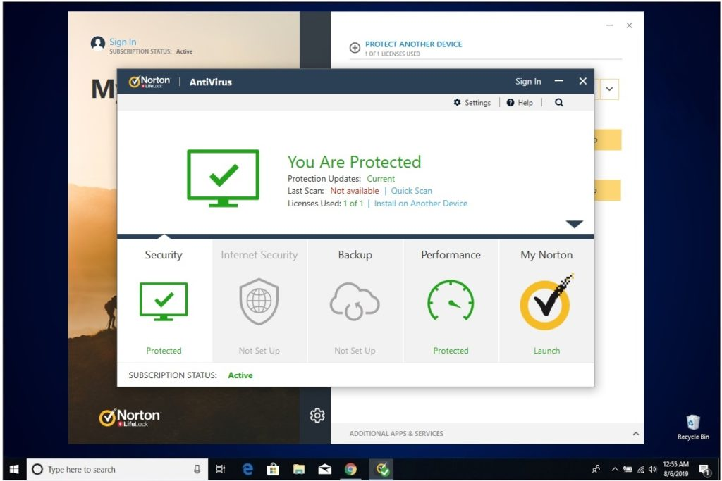 Norton Antivirus Plus Installation Main Dashboard