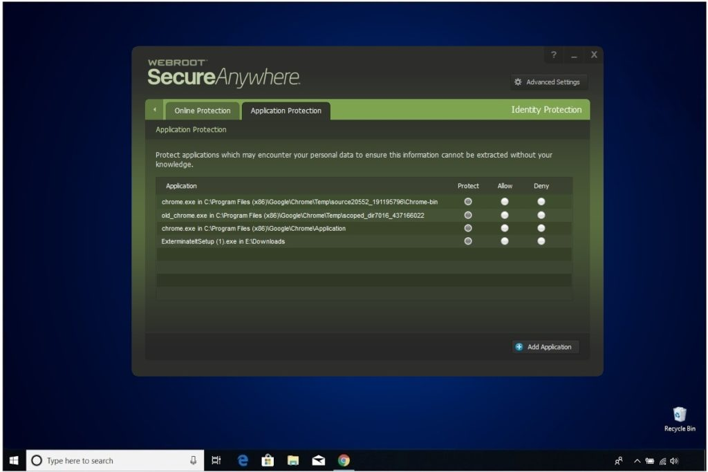 Webroot Internet Security Plus Review Identity Protection Application Protection