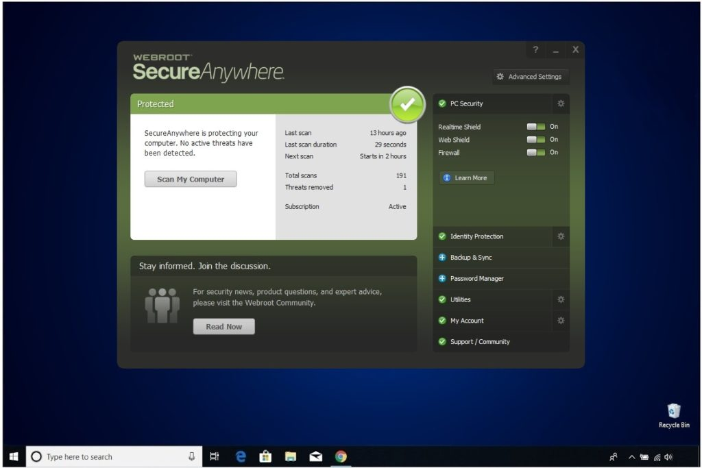 Webroot Internet Security Plus Review Main Window