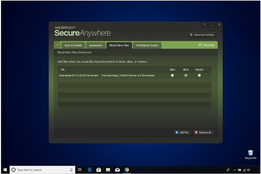 Webroot Internet Security Plus Review PC Security Block Files