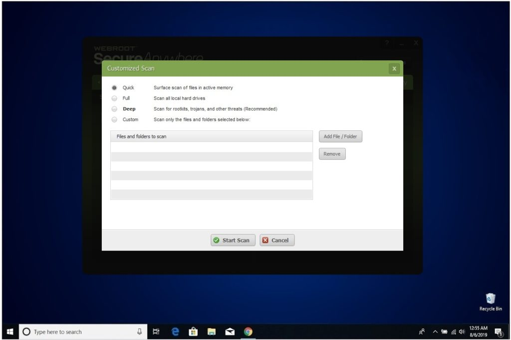 Webroot Internet Security Plus Review PC Security Custom Scan