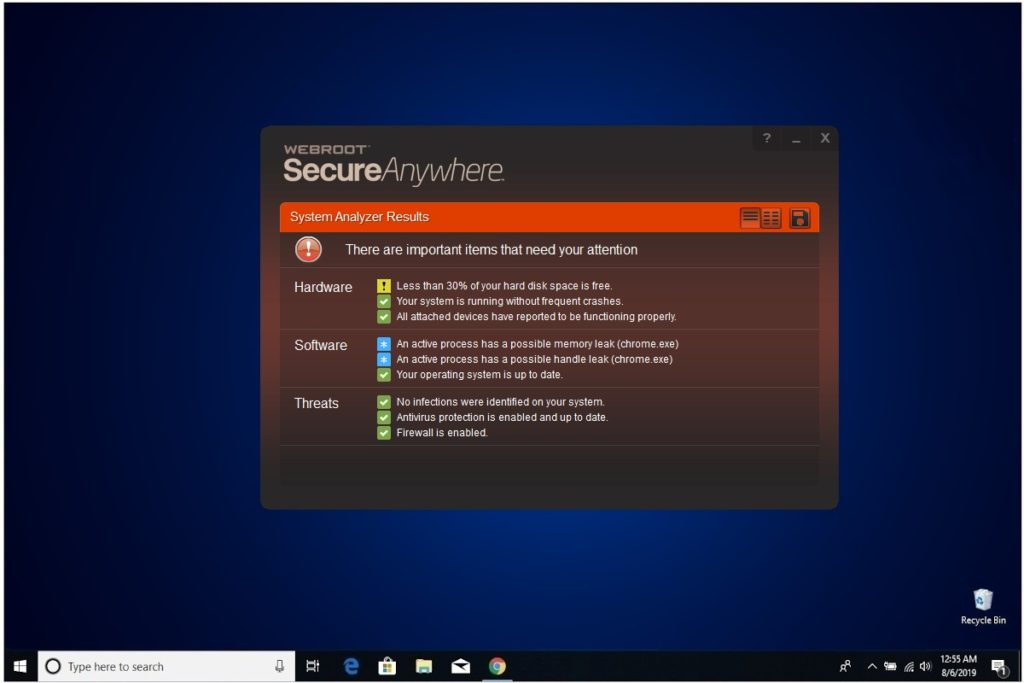 Webroot Internet Security Plus Review System Analyzer Results