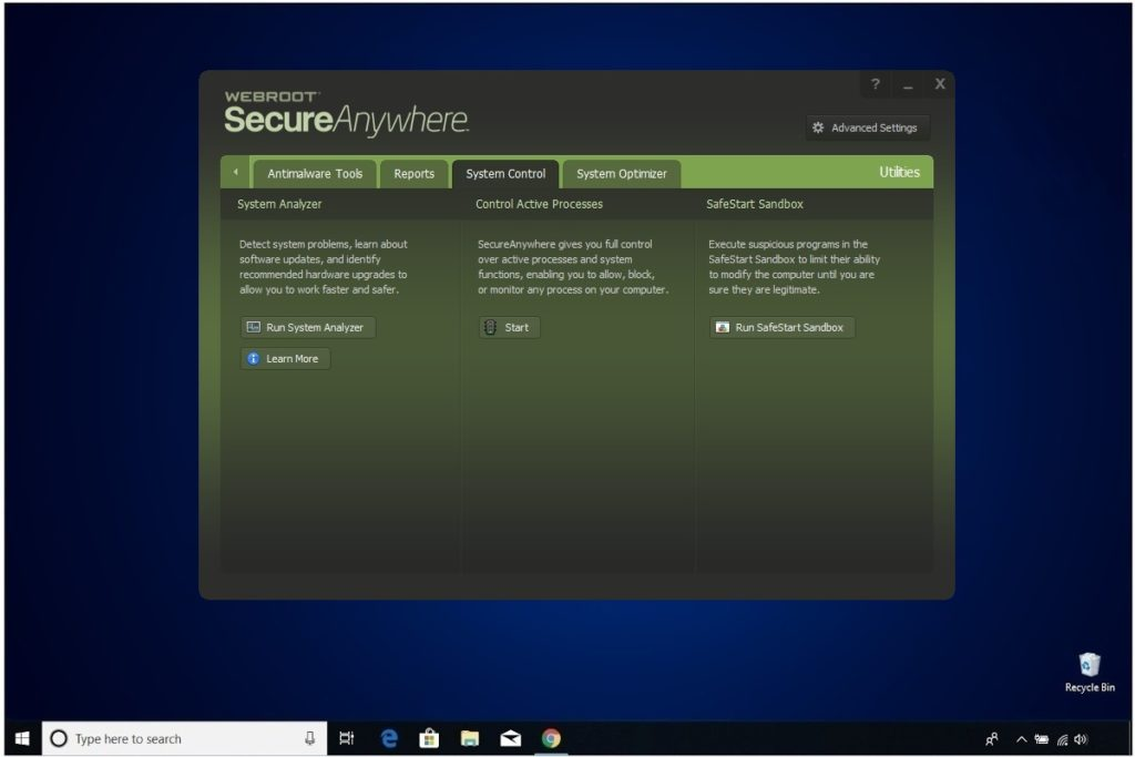 Webroot Internet Security Plus Review Utilities System Control