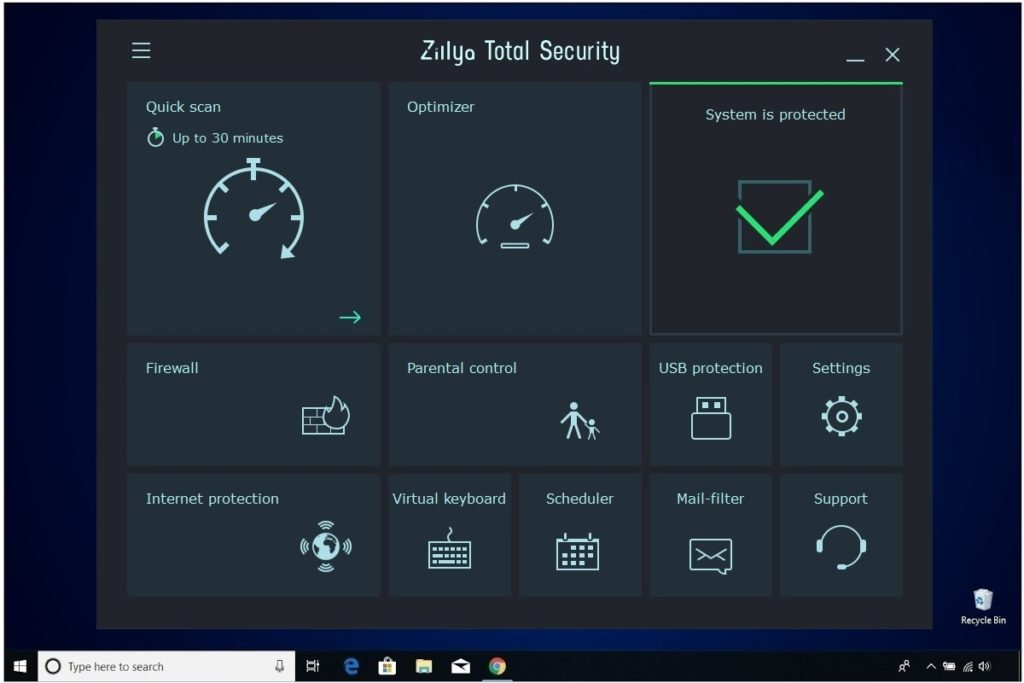 Zillya Total Security Main Program Window