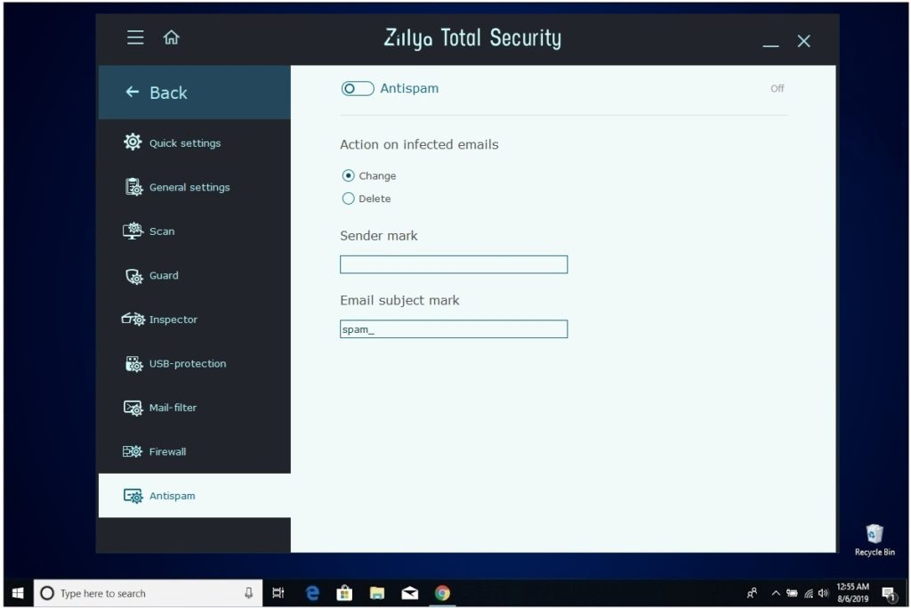 Zillya Total Security Review Antispam