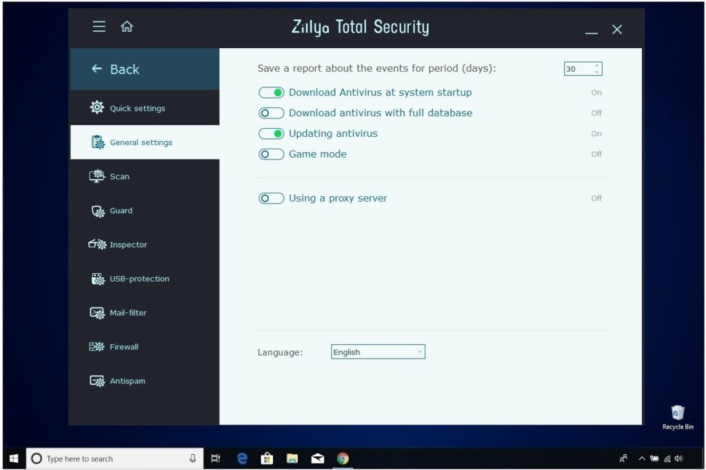 Zillya Total Security Review General Settings