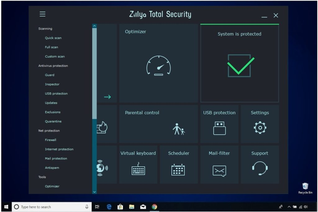 Zillya Total Security Review Left Menu