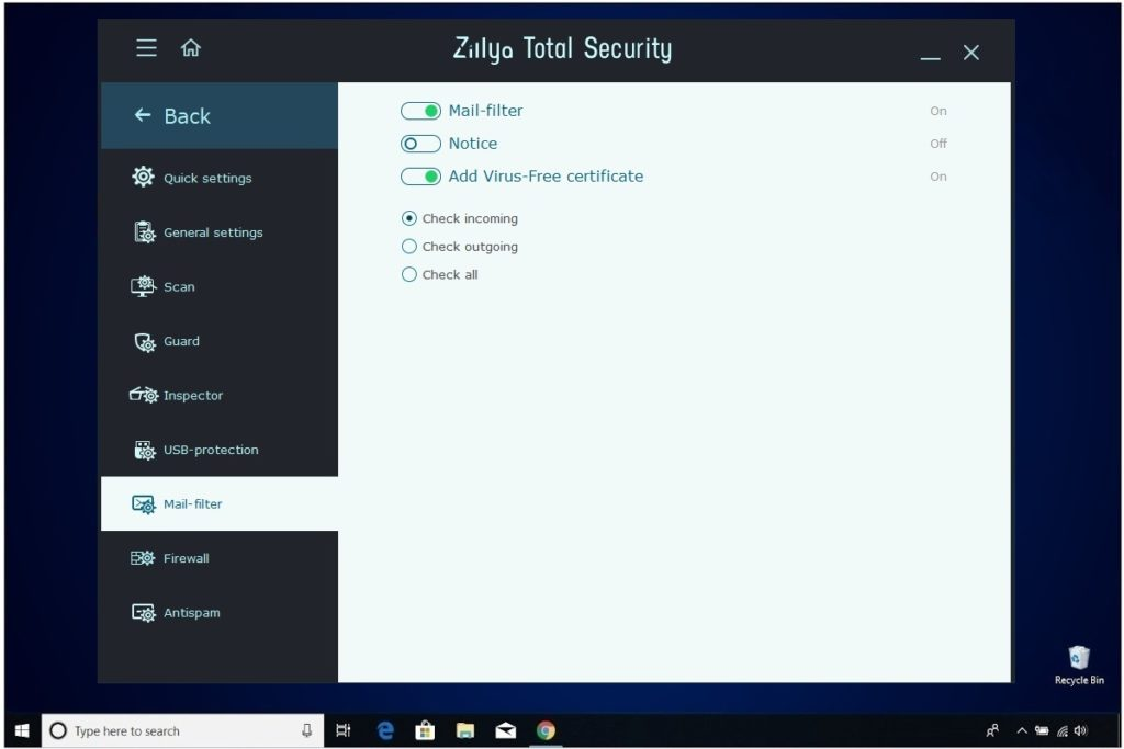 Zillya Total Security Review Mail Filter