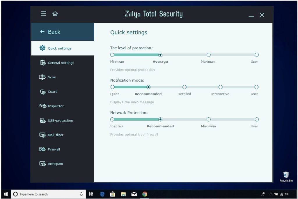 Zillya Total Security Review Settings