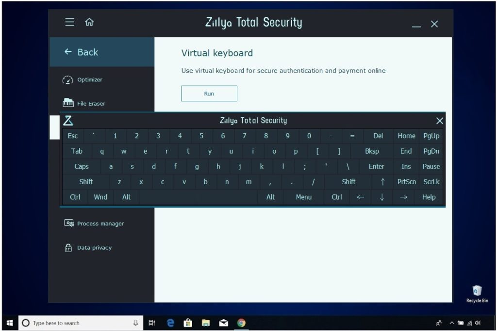 Zillya Total Security Review Virtual Keyboard