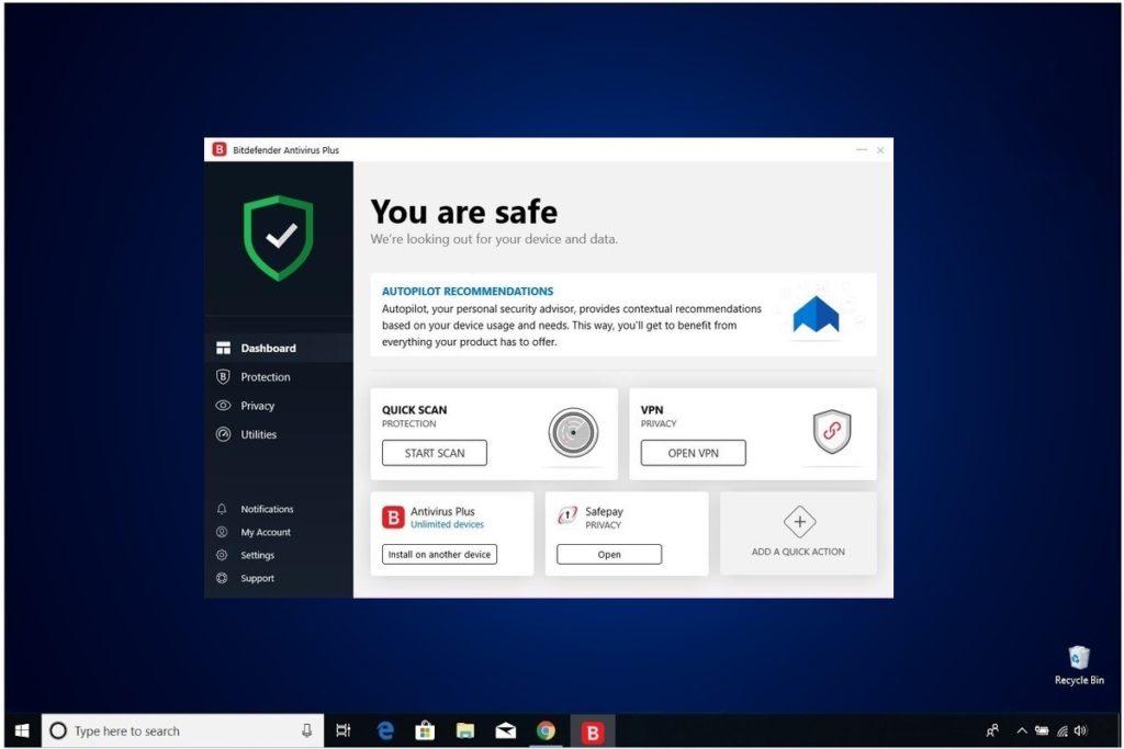 Bitdefender Antivirus Plus Review Main Menu Dashboard
