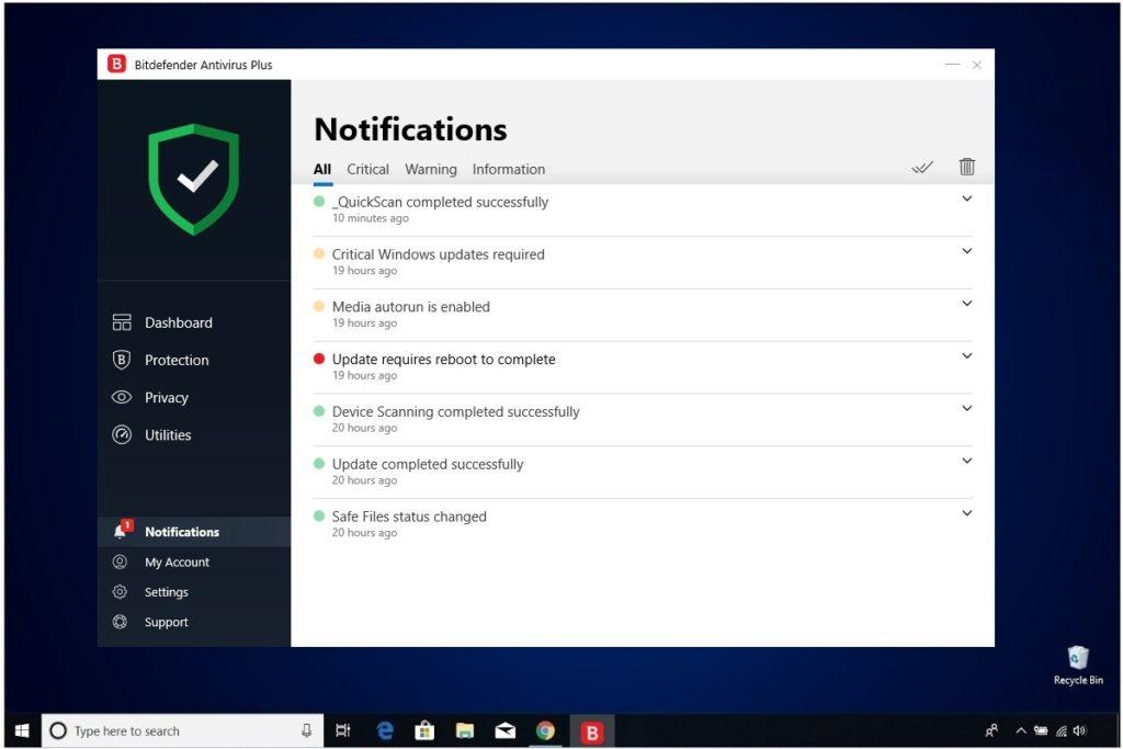 Bitdefender Antivirus Plus Review Notifications