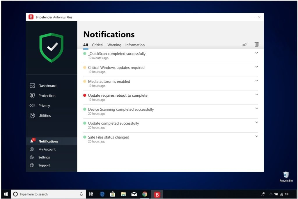 Bitdefender Antivirus Plus Review Notifications
