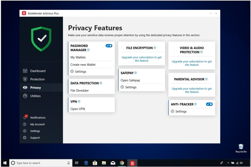 Bitdefender Antivirus Plus Review Privacy Features