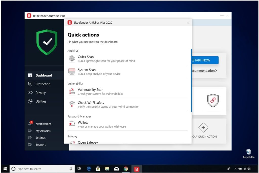 Bitdefender Antivirus Plus Review Quick Actions