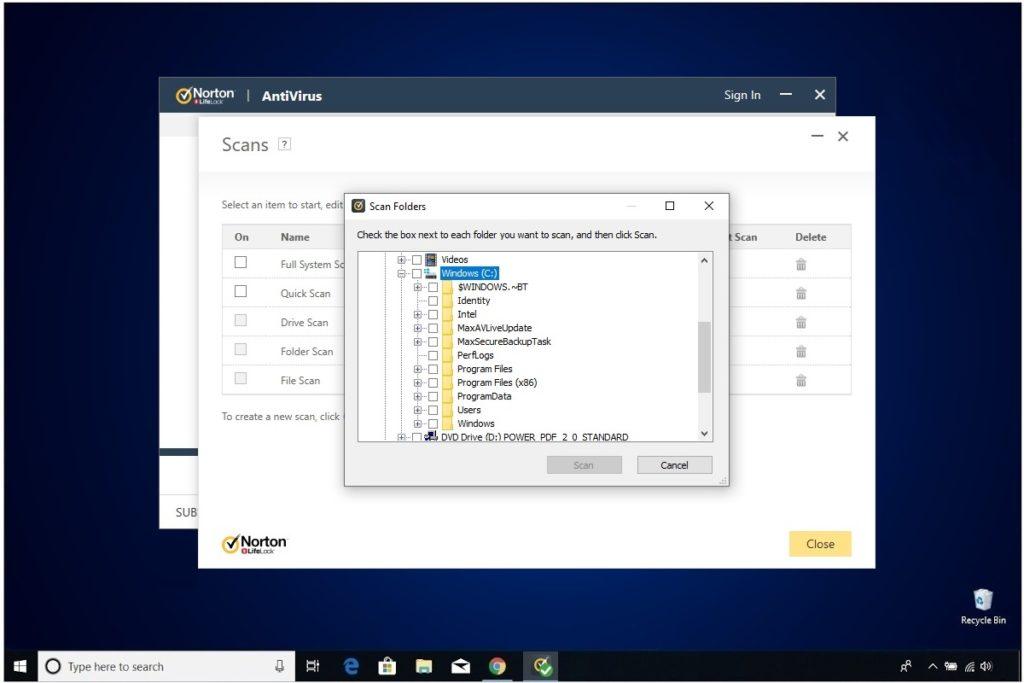 Norton Antivirus Plus Review Custom Scan