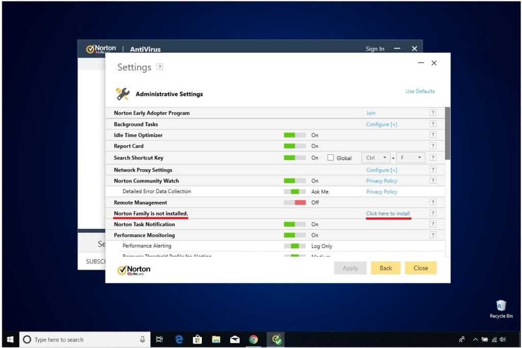 Norton Antivirus Plus Site Blocker Norton Family Administrative Settings