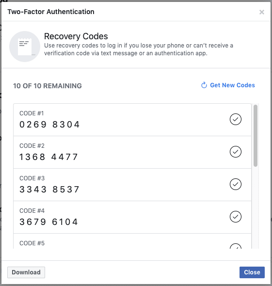 Facebook security settings - Two-factor authentication backup method - recovery codes