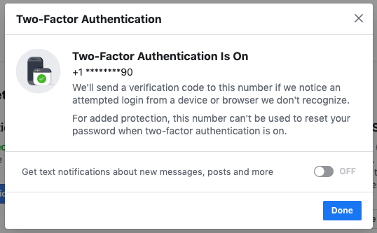 Facebook security settings - Two-factor authentication confirmation screen