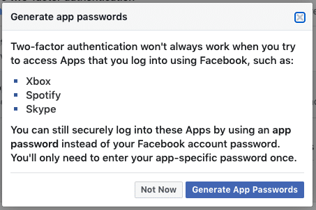 Facebook security settings - App Passwords Step 2