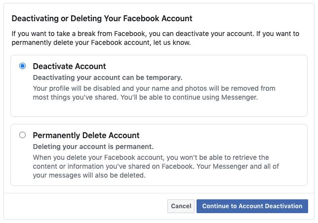 Facebook security - Deactivate or Delete your Facebook account