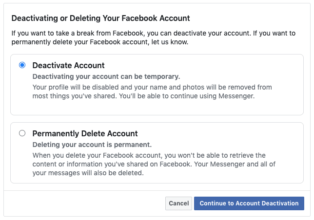 Facebook security - Deactivate or Delete your Facebook account