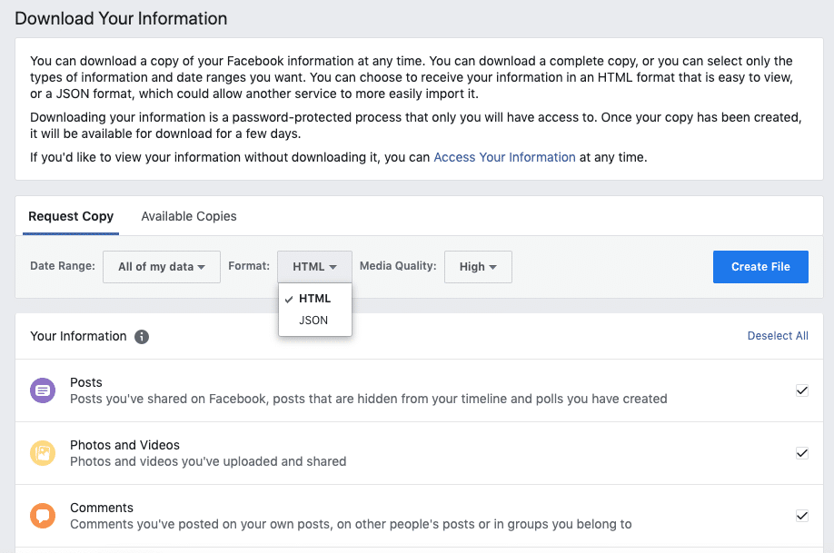 Facebook security - download your information